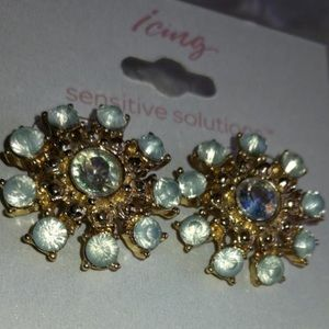 Pale Blue and Gold Studs
